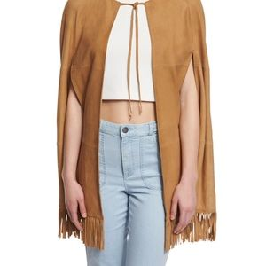 Alice and Olivia Lyn Suede fringe cape